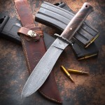 "Drop point 3/16"" Damascus 300 layers 1084/15n20, hidden tang, redwood burl handle, 14"" O.A., 8"" blade."