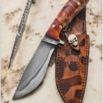 "Hunting knife 11"" overall 6"" blade 1/4"" thick W2 toolsteel; Alder handle c/w leather sheath"