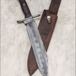 Bowie 1/4 inch thick W2 Blade and guard, 17 inches overall, Ebony handle with Mosaic pins, supplied with leather sheath.