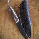 "Damascus hunter 9.25"" overall 4"" blade Elk horn handle"