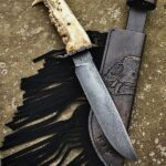 """Bearjaw handle Damascus guard with 71/4"""" Damascus blade hand carved custom leather sheath"""